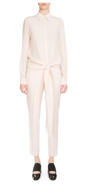 "Givenchy Button-Front Tie-Waist Blouse in flesh - Givenchy crepe blouse. Approx. 29""L from shoulder to..."