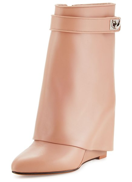 Givenchy Calfskin Shark-Lock Fold-Over Bootie in old pink - ONLYATNM Only Here. Only Ours. Exclusively for You....