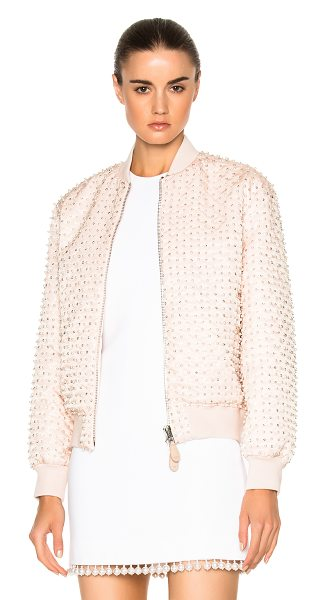 Givenchy Crystal Pearl Embroidered Bomber in skin - Self: 100% polyamideLining: 100% viscoseRib: 89% cotton...
