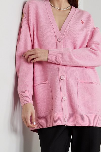Givenchy cutout jacquard-knit wool and cashmere-blend cardigan in pink