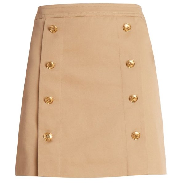 Givenchy double breasted button mini skirt in beige