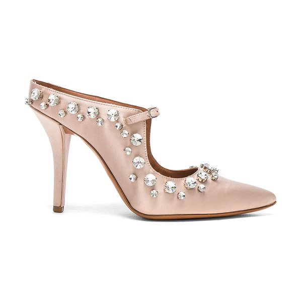 GIVENCHY Feminine Satin Crystal Mule - Satin upper with leather sole. Made in Italy. Approx...
