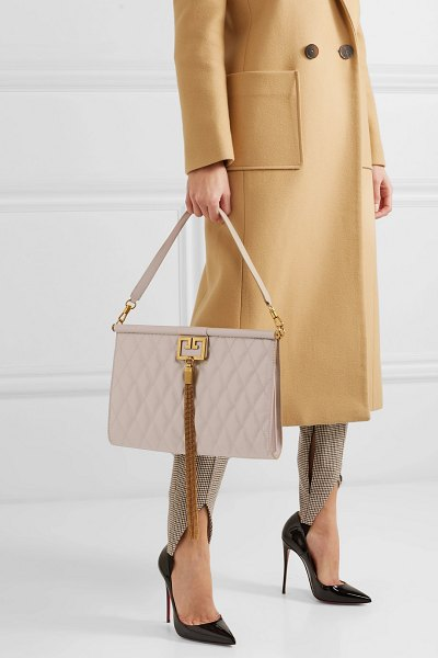 Givenchy gem large quilted glossed-leather shoulder bag in neutral