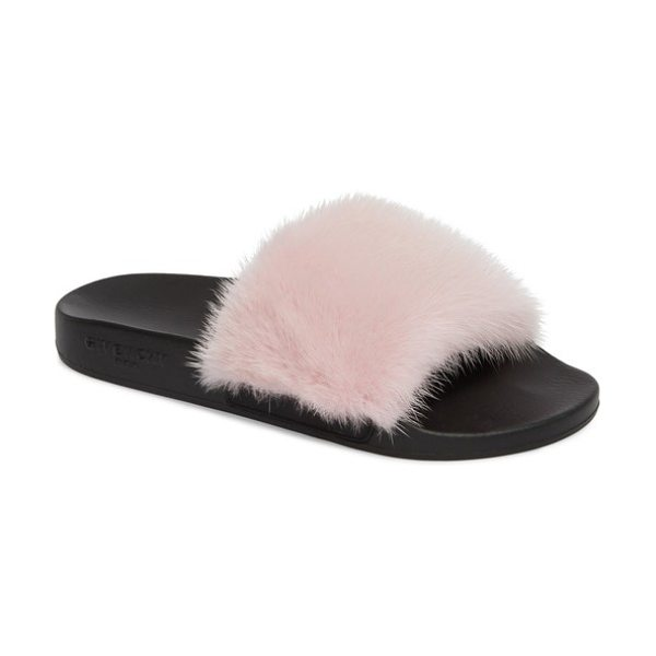 GIVENCHY genuine mink fur slide sandal - A classic slide sandal is made completely posh with a lush...