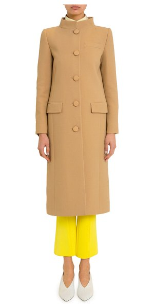 Givenchy High-Collar Button-Front Coat in medium brown