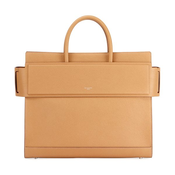 GIVENCHY Horizon Medium Textured Leather Tote Bag - Givenchy grained calfskin leather tote bag. Silvertone...