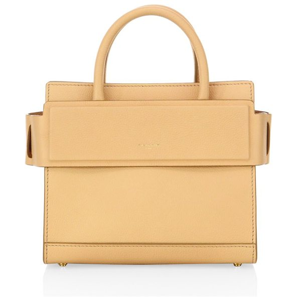 Givenchy horizon mini grained leather satchel in beige - Structured leather silhouette with banded top panel....