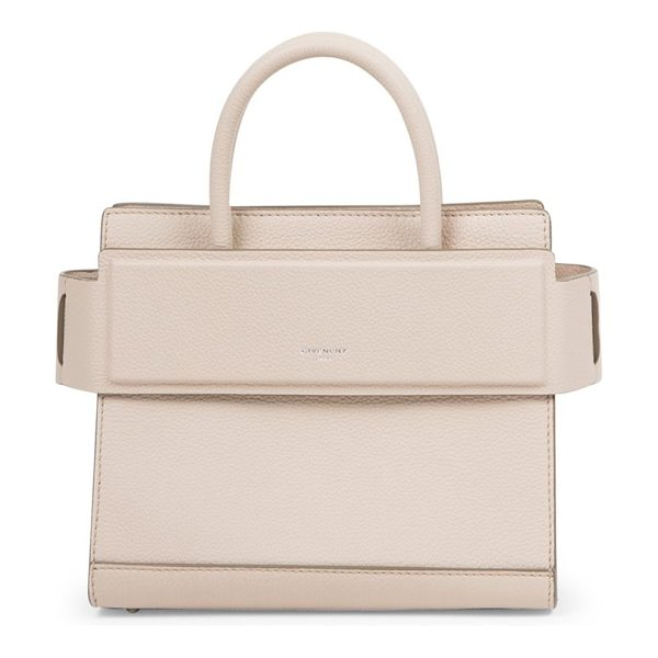 Givenchy horizon mini leather tote in nudepink - Structured grained leather style with banded top panel....