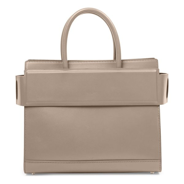 Givenchy horizon small smooth leather satchel in mastic - Structured leather silhouette with banded top panel....