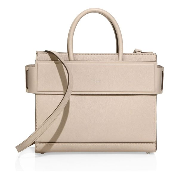 Givenchy horizon small grained leather satchel in nude - Structured leather silhouette with banded top panel....