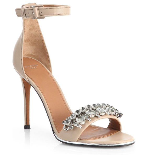 Givenchy Jeweled mona sandals in nude - Lacquered metallic trim and a bejeweled front strap...