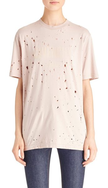 GIVENCHY logo print destroyed stretch jersey tee in pale pink - A tonal logo print adds understated signature style to...
