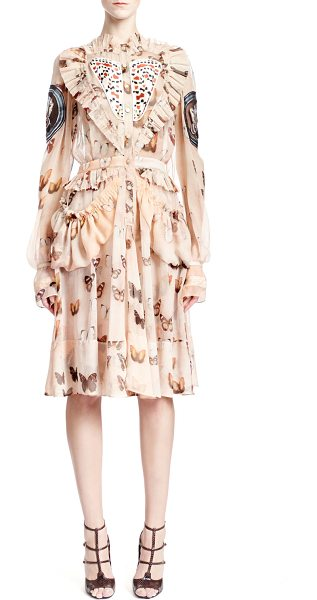 Givenchy Long-sleeve butterfly-print silk dress in pink multi - Butterfly-print silk chiffon dress by Givenchy. Pleated...