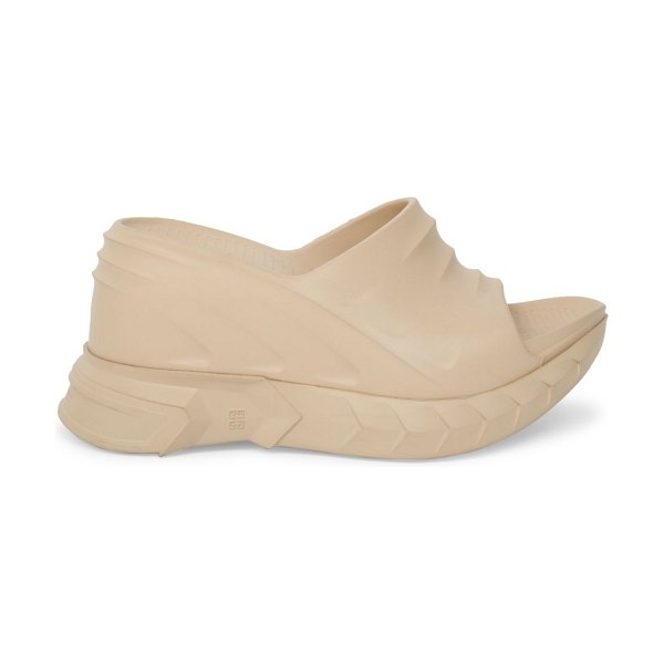 Givenchy marshmallow platform wedge mules in sand