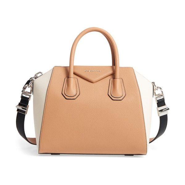 Givenchy medium antigona bicolor sugar leather satchel in light beige - Beloved by street-style mavens and well-polished women...