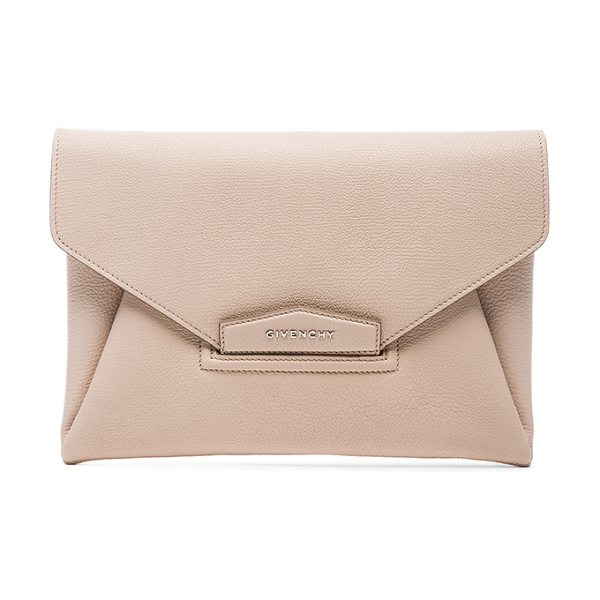 Givenchy Medium Antigona Envelope Clutch in neutrals - Goatskin leather with canvas lining.  Made in Italy. ...
