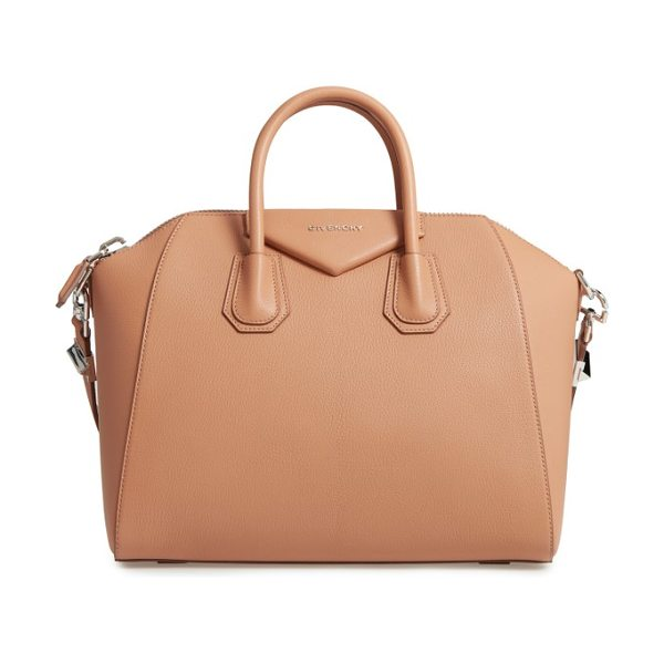 Givenchy 'medium antigona' sugar leather satchel in medium beige - Beloved by street-style mavens and well-polished women...