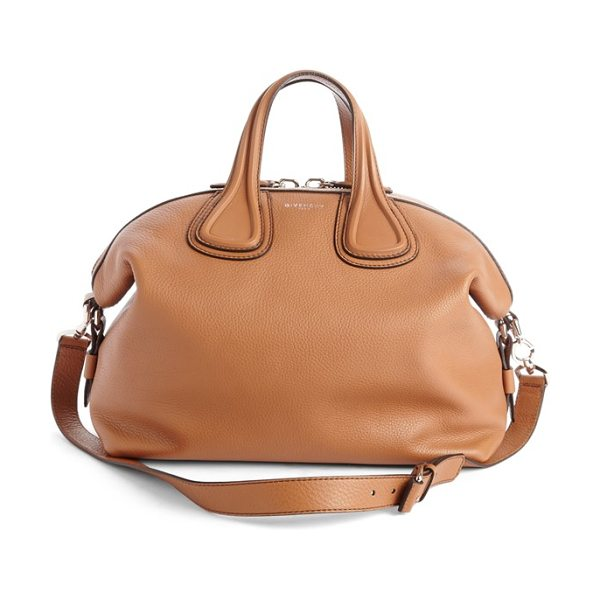 Givenchy Medium nightingale calfskin leather satchel in caramel - Polished silvertone hardware adds subtle embellishment...