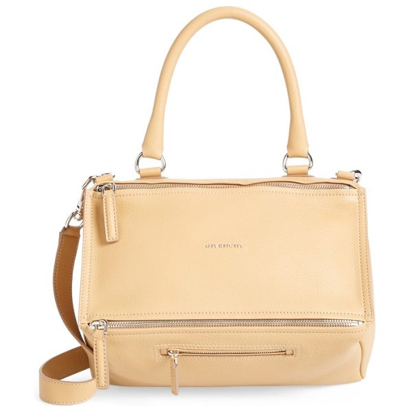 GIVENCHY 'medium pandora' sugar leather satchel - Softly shining palladium hardware glints against the...