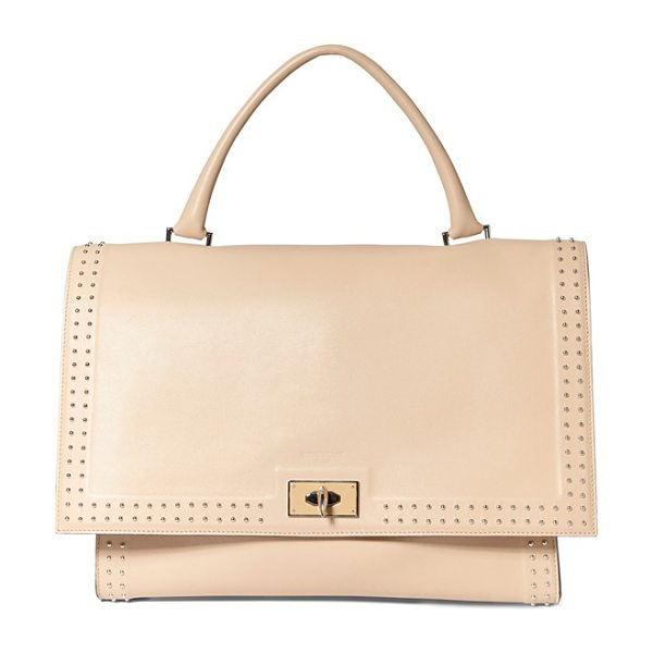 Givenchy Medium shark tooth studded leather satchel in beige buff - Shark-tooth-shaped turnlock hardware lends sculptural...