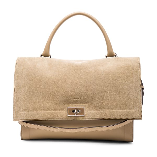 Givenchy Medium suede & leather shark bag in neutrals - Calfskin leather and suede with suede lining and...