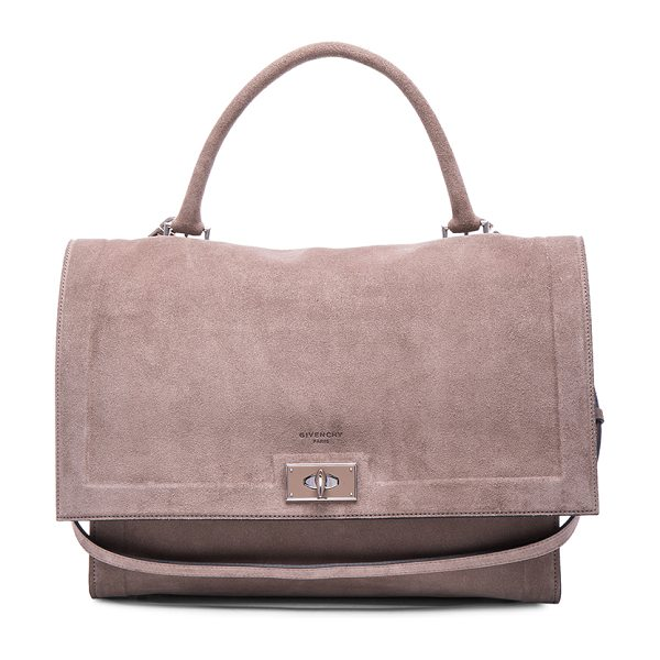 GIVENCHY Medium suede shark bag - Calfskin suede with suede lining and silver-tone...