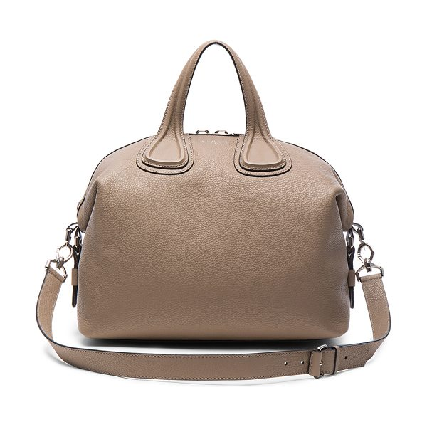 Givenchy Medium Waxy Leather Nightingale in neutrals - Calfskin leather with canvas lining and silver-tone...