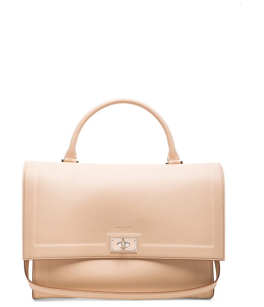Givenchy Medium waxy leather & plexi shark in neutrals - Calfskin leather with suede lining and silver-tone...