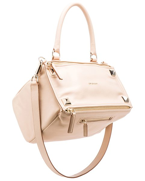 Givenchy Medium waxy leather & studs pandora in neutrals - Calfskin leather features large pyramid stud detail with...