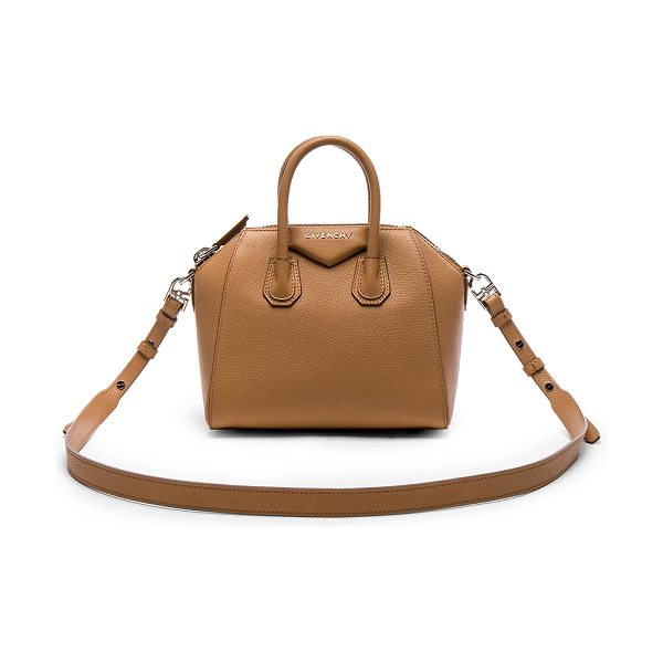 Givenchy Mini Sugar Antigona in medium beige - Goatskin leather with canvas lining and silver-tone...