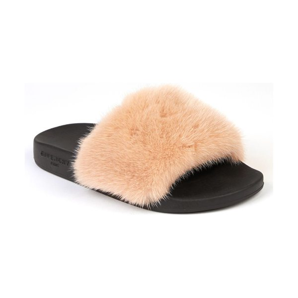 Givenchy women's mink fur & rubber slides in nude - Vibrant mink fur shapes toe band of rubber slide. Mink...