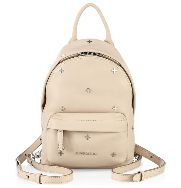 Givenchy nano cross-studded leather mini backpack in nude - Sized-down leather backpack with polished cross studs....