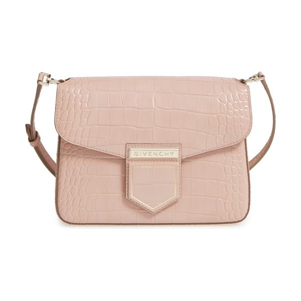 Givenchy small nobile croc embossed leather crossbody bag in nude pink - Rich croc embossing textures this beautifully structured...