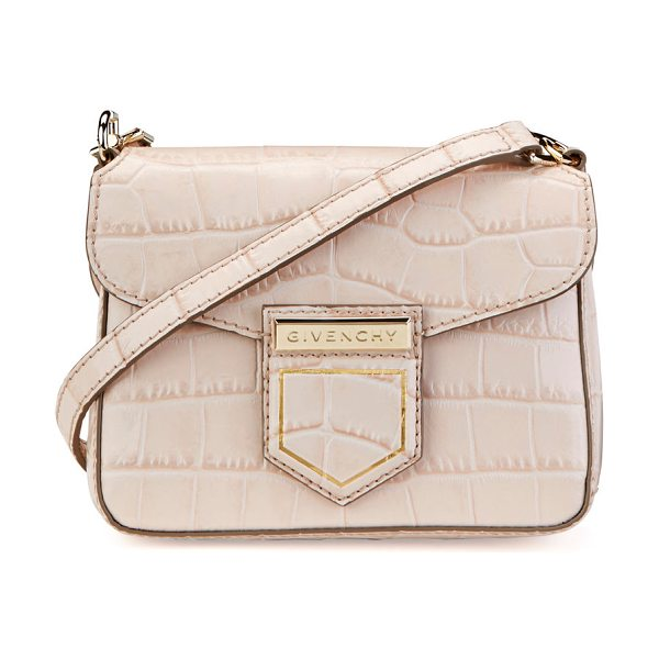 Givenchy Nobile Mini Crocodile-Embossed Shoulder Bag in pink - Givenchy crocodile-embossed leather shoulder bag....