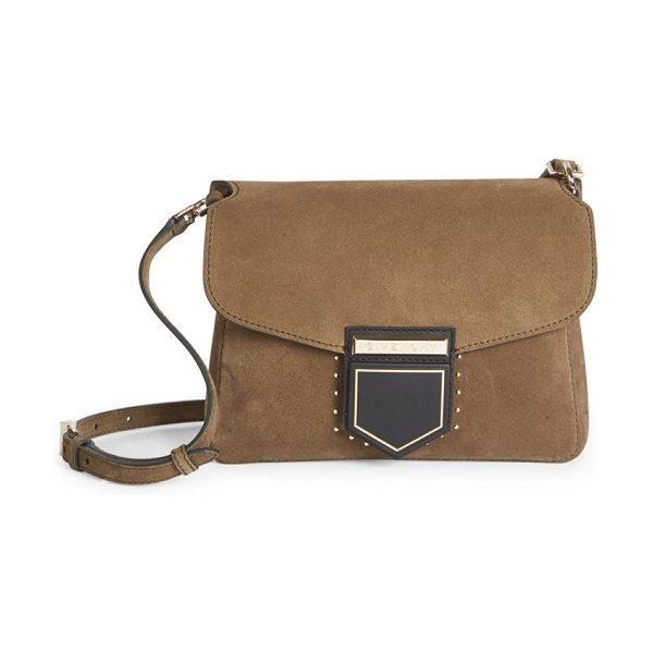 Givenchy nobile small studded suede shoulder bag in lightkhaki - Convertible studded suede bag with geometric clasp....