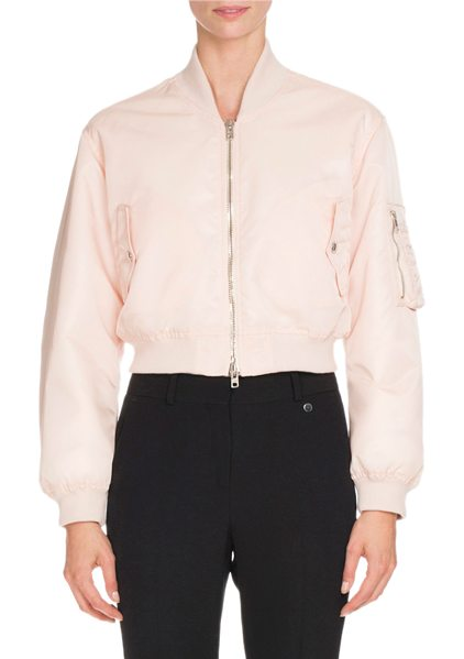 Givenchy Nylon Zip-Front Cropped Bomber Jacket in skin - Givenchy nylon bomber jacket with banded trim. Baseball...