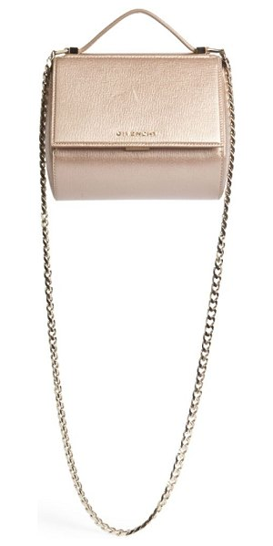 Givenchy Pandora box metallic leather chain crossbody bag in lightpink - Classic structured design in glamorous metallic leather....