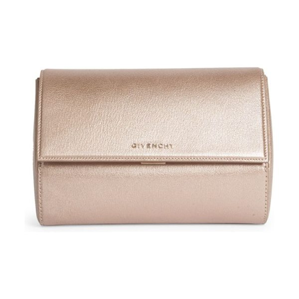 Givenchy pandora box metallic leather clutch in light pink - Small structured clutch in glamorous metallic leather....