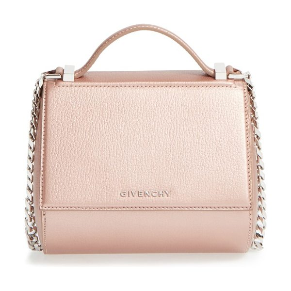 Givenchy Pandora box metallic leather minaudiere in light pink - Unlike its mythical namesake box, the Pandora minaudiere...