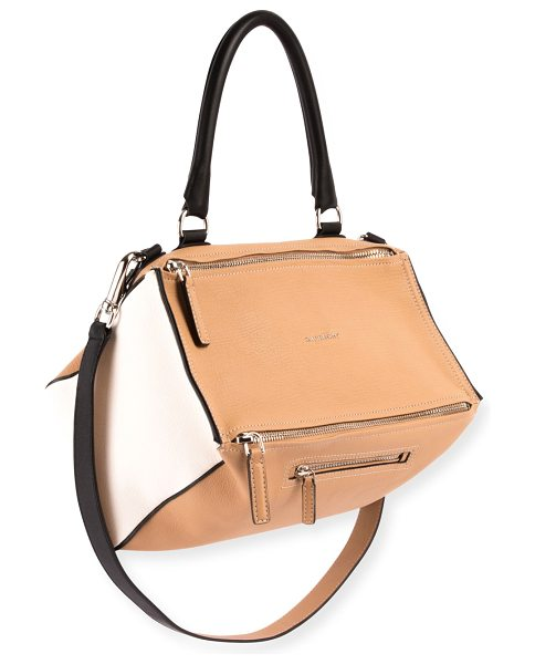 "Givenchy Pandora Medium Bicolor Sugar Leather Satchel Bag in light beige - Givenchy ""Pandora"" satchel bag in bicolor ""sugar"" grain..."