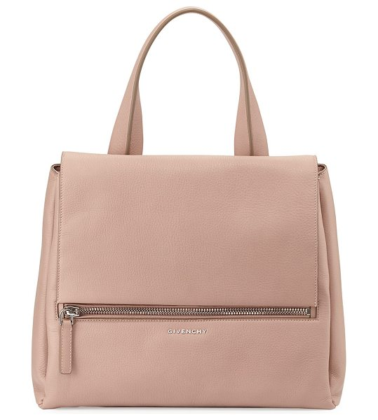 Givenchy Pandora pure medium leather satchel bag in light pink - Givenchy waxy calf leather satchel. Silvertone hardware....