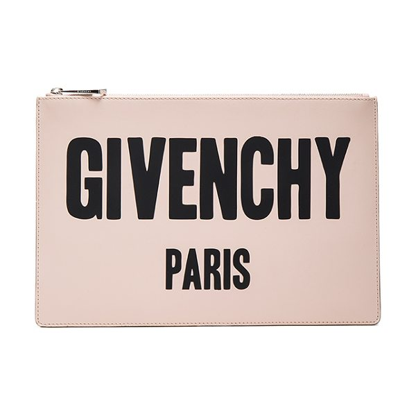 Givenchy Paris Printed Medium Pouch in nude pink - Calfskin leather with canvas lining and silver-tone...