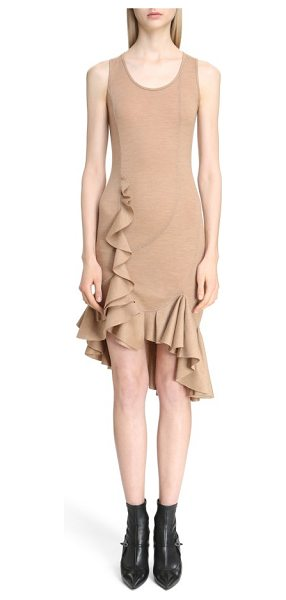 Givenchy ruffled wool jersey dress in camel - Artfully curved seams and beautifully draped ruffles-a...