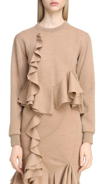 Givenchy ruffled wool sweatshirt in camel - Artfully draped ruffles-a recurring motif in the...