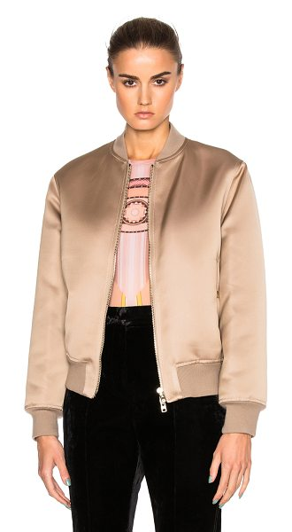 Givenchy Satin Bomber Jacket in beige - Self & Fill: 100% polyRib: 61% wool 27% cashmere 10%...