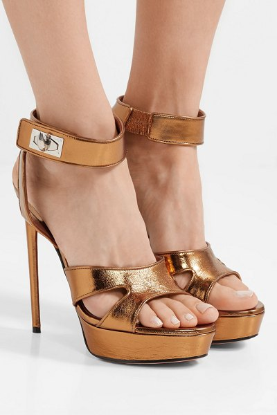 82e418c49f5 Givenchy shark lock cutout metallic leather platform sandals in gold - Givenchy s  platform sandals are detailed