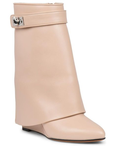 Givenchy shark lock leather pants mid-calf wedge boots in beige - A signature avant-garde style, fashioned with a supple...