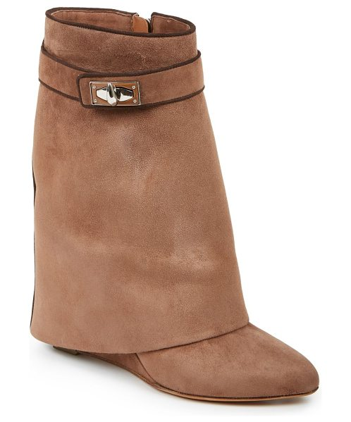 Givenchy Shark lock suede 'pants' mid-calf wedge boots in brown - A signature avant-garde style, fashioned with a...