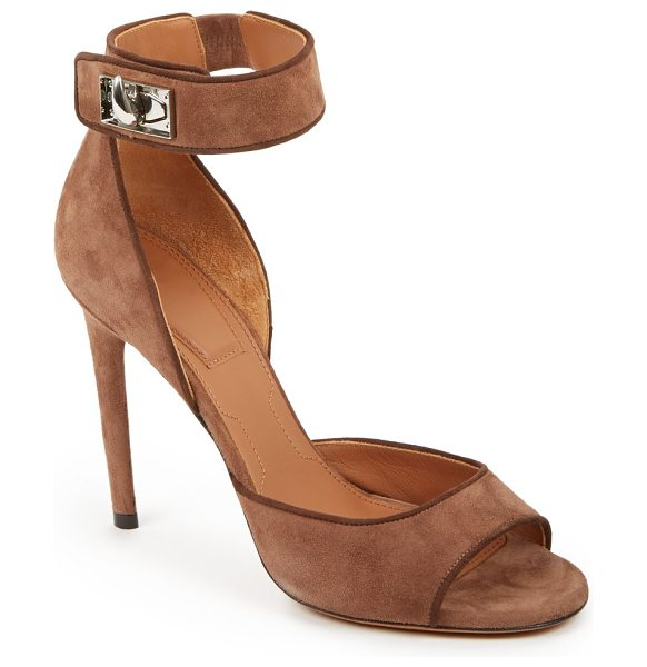 Givenchy Shark lock suede sandals in brown - Sleek, tall and modern-chic suede sandals punctuated...
