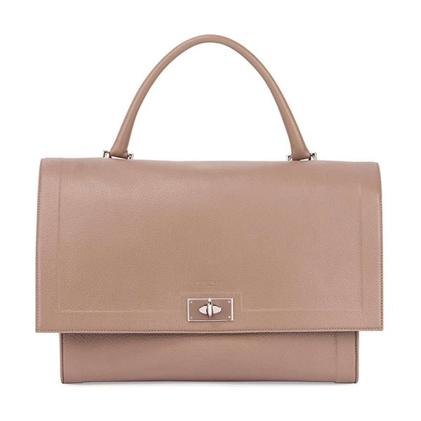 Givenchy Shark medium waxy satchel bag in sand - Givenchy calfskin shoulder bag with palladium hardware....